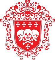 brasão de armas gótico com camisetas de design vintage grunge caveira vetor