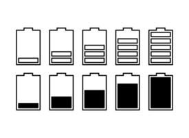 ícone de vetor de bateria definido com indicadores de nível de carga. ícones isolados planos simples