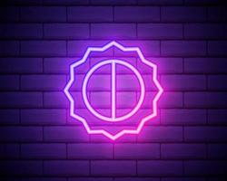 ícone de ui ux de néon brilhante rosa sol. brilho móvel brilhante sinal logotipo vetor isolado no fundo da parede de tijolos