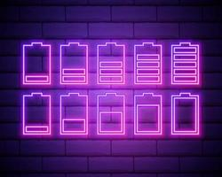 conjunto de ícone de néon da bateria. sinal brilhante do carregador. símbolo de vetor de bateria fraca e cheia, isolada na parede de tijolos.