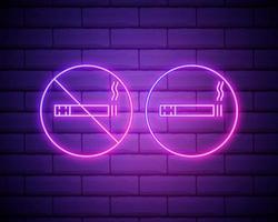 Proibido fumar. sinal de néon com proibição de fumar. círculo com fumaça de cigarro com fumaça. ícone com iluminação de néon quase em tempo real. ilustração vetorial isolada na parede de tijolos vetor