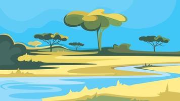 paisagem africana com rio. vetor
