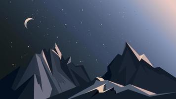 paisagem montanhosa à noite. vetor