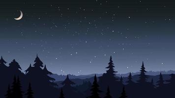 floresta sob o céu estrelado. vetor