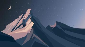 montanhas à noite. vetor