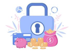 ilustração de seguro de investimento para empresas com proteção de dinheiro, poupança, escudo ou design de segurança financeira vetor