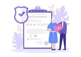 seguro de idosos é usado para fundos de pensão, garantia de velhice, conceito de proteção de saúde, riscos e dinheiro vetor