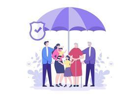seguro de vida é usado para fundos de pensão, saúde, finanças, serviços médicos e proteção vetor