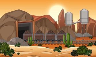 paisagem da cena de mineração de carvão na hora do pôr do sol vetor