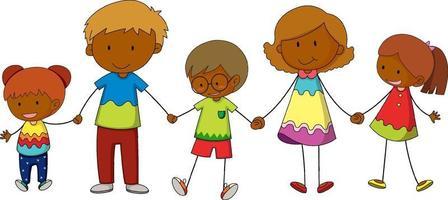 três crianças de mãos dadas personagem de desenho animado desenhado à mão estilo doodle isolado vetor