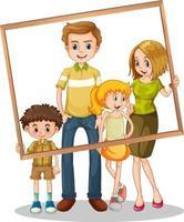 foto de família isolada com moldura vetor