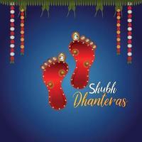 Design de cartão de convite do festival indiano shubh dhanteras com pegada da deusa laxami vetor