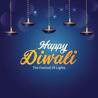 Festival indiano feliz cartão de convite de celebração de diwali com diwali diya criativo vetor