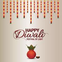 cartão comemorativo feliz diwali com kalash criativo e flor de guirlanda vetor