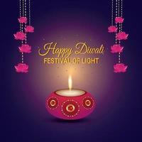 cartão de convite feliz diwali com lâmpada a óleo e diya vetor