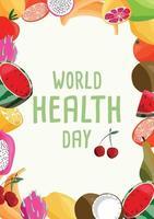 modelo de cartaz vertical do dia mundial da saúde com coleção de frutas orgânicas frescas. mão colorida ilustrações desenhadas sobre fundo verde claro. comida vegetariana e vegana. vetor