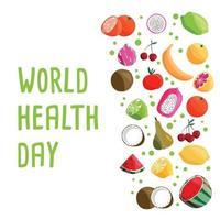 modelo de cartaz quadrado do dia mundial da saúde com coleção de frutas orgânicas frescas. mão colorida ilustrações desenhadas no fundo branco. comida vegetariana e vegana. vetor