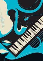 modelo de cartaz com saxofone e piano. vetor