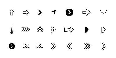 setas grandes conjunto de ícones pretos. ícone de seta. coleção de vetores de seta. flecha. cursor. setas simples e modernas. ilustração vetorial