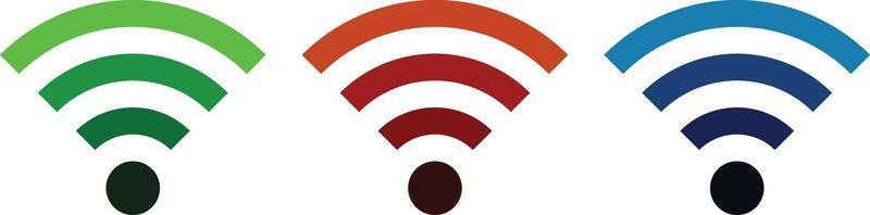 conjunto de ícones wi-fi, pacote de três cores vetor