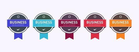 modelo de design de crachá de logotipo de negócios. certificação de crachá de treinamento de empresa certificada para determinar com base em critérios. conjunto de certificação de pacote colorido. vetor