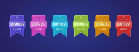 Logotipo do crachá 3D colorido com design de fita. etiqueta comercial ou certificação de etiqueta. vetor