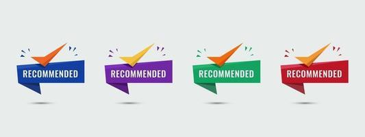 recomendou formas coloridas modernas. vendedor recomendado com ícone de lista de verificação. ilustração vetorial. vetor