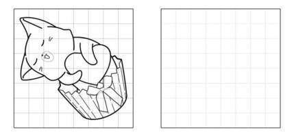 copie a imagem do gato dentro do desenho do cup cake vetor