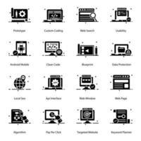 conjunto de ícones de construção e edifícios vetor