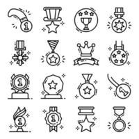 conjunto de ícones de prêmios e medalhas de sucesso vetor