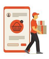 homem da equipe entrega a caixa de pacote de compras on-line no telefone celular. vetor