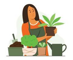 mulher gosta de atividades de jardinagem com as plantas no jardim. vetor
