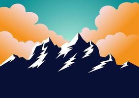 projeto da bandeira das montanhas com estilo vintage com montanhas. silhueta do sol de montanhas. ilustração vetorial. viagem, alpinista, acampamento, modelo de estância de esqui. silhueta do vetor. vetor