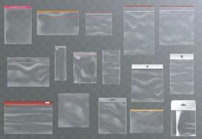 sacos de plástico transparentes com zíper, abas e orifícios adesivos, modelos de bolsas para embalagens de produtos de alimentos e mercadorias vetor