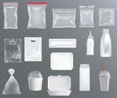 conjunto realista de embalagens de alimentos em branco. vetor eps10