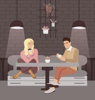 um casal está tomando café em um café. vetor
