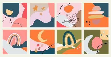 grande conjunto de oito fundos abstratos e cores pastel. mão desenhada várias formas e objetos de doodle. ilustrações vetoriais. vetor
