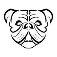 arte em preto e branco da cabeça de bulldog ou cachorro pug vetor