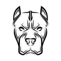 arte de linha preto e branco da cabeça de cachorro pitbull. vetor