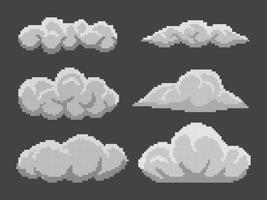 conjunto de nuvens de pixels em fundo preto vetor