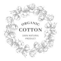 coroa de flores com algodão em estilo de desenho vetor