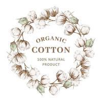 moldura coroa de algodão orgânico vetor