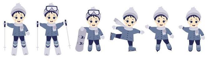 crianças no inverno. garoto atleta esquiando, patinando e snowboard em diferentes poses. conjunto de esportes de inverno e criança. ilustração vetorial. coleção infantil para cartões postais, design e impressão vetor