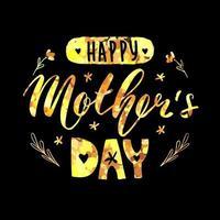 feliz dia das mães letras cartão de caligrafia. ilustração em vetor saudação. glitter dourado em fundo preto