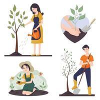 vetor definido sobre o tema de jardinagem e agricultura. o conceito de voluntariado. uma mulher rega uma árvore, um cara planta uma árvore, uma menina planta uma flor. as mãos que seguram o broto.
