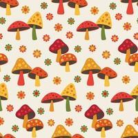 lindo cogumelo da floresta e margarida padrão sem emenda vetor