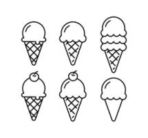 conjunto de doodle de cone de sorvete. contorno do cone do waffle isolado. vetor