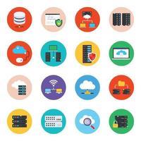 conjunto de ícones modernos de hospedagem de dados vetor