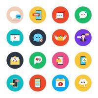 conjunto de ícones de bate-papo e mensagem vetor