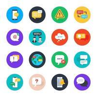 conjunto de ícones de bate-papo e comunicação vetor